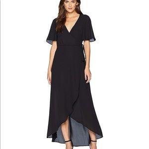Black wrap chiffon dress show me your mumu